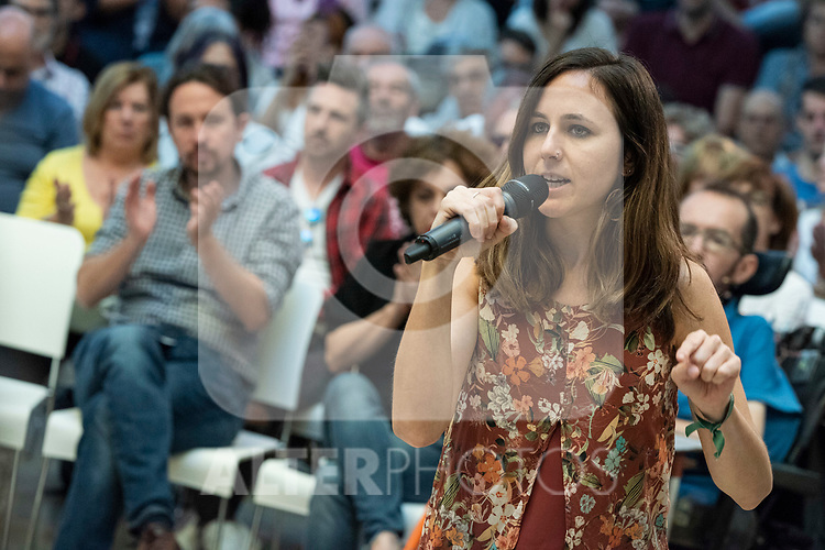 Pablo Iglesias, secretary general of Podemos;  Ione Belarra, deputy spokesperson for United We can;  in a meeting of Podemos with people in Madrid where they exchange points of view, listen to concerns and draw shared horizons.<br /> October 5, 2019. <br /> (ALTERPHOTOS/David Jar)
