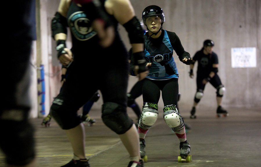 Trouble Axle, of the Storm City Roller Girls practices while in Vancouver Thursday February 9, 2017. (Photo by Natalie Behring for the Columbian)
