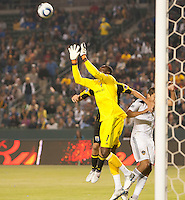 LA Galaxy goalie Donovan Ricketts (1) goes up high to grab a shot on goal during the first half of the game between LA Galaxy and the Columbus Crew at the Home Depot Center in Carson, CA, on September 11, 2010. LA Galaxy 3, Columbus Crew 1.