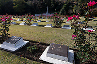 Graves of military personnel who died in Japan during the war or occupation at Hodagya  Commonwealth War Graves cemetery on Remembrance Sunday in Hodogaya, Yokohama, Kanagawa, Japan. Sunday November 12th 2017. The Hodagaya Cemetery holds the remains of more than 1500 servicemen and women, from the Commonwealth but also from Holland and the United States, who died as prisoners of war or during the Allied occupation of Japan. Each year officials from the British and Commonwealth embassies, the British Legion and the British Chamber of Commerce honour the dead at a ceremony in this beautiful cemetery.
