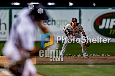 29 August 2019: Connecticut Tigers infielder Nick Quintana in action against the Vermont Lake Monsters at Centennial Field in Burlington, Vermont. The Tigers defeated the Lake Monsters 6-2 in the first game of their NY Penn League double-header.  Mandatory Credit: Ed Wolfstein Photo *** RAW (NEF) Image File Available ***