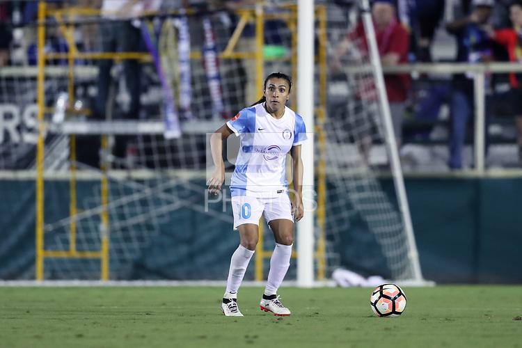Cary, North Carolina  - Saturday September 30, 2017: Marta during a regular season National Women's Soccer League (NWSL) match between the North Carolina Courage and the Orlando Pride at Sahlen's Stadium at WakeMed Soccer Park. Orlando won the game 3-2.