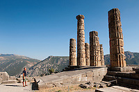 Temple of Apollo, Doric columns, Dephi Archaeologica Site, Delphi, Greece
