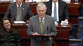 In this image from United States Senate television, United States Senate Majority Leader Mitch McConnell (Republican of Kentucky) asks for a break during the impeachment trial of US President Donald J. Trump in the US Senate in the US Capitol in Washington, DC on Monday, January 27, 2020.<br /> Mandatory Credit: US Senate Television via CNP
