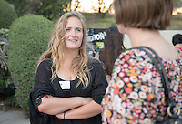 Occidental College student Natalie Given '16 shares her InternLA experience working at Southern California Public Radio KPCC during the Career Development Center's Reverse Career Fair, Thorne Hall patio, Sept. 3, 2015.<br /> (Photo by Marc Campos, Occidental College Photographer)