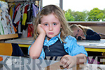 Jasmine O'Sullivan not impressed on her first day at school in Currow NS on Thursday