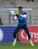 Chelsea Loanee Goalkeeper Jamal Blackman of Wycombe Wanderers warms up during the Sky Bet League 2 match between Wycombe Wanderers and Accrington Stanley at Adams Park, High Wycombe, England on 16 August 2016. Photo by Andy Rowland.