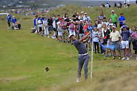 Thorbjorn Olesen (DEN) plays his 2nd shot on the 2nd hole during Saturday's Round 3 of the 2018 Dubai Duty Free Irish Open, held at Ballyliffin Golf Club, Ireland. 7th July 2018.<br /> Picture: Eoin Clarke | Golffile<br /> <br /> <br /> All photos usage must carry mandatory copyright credit (&copy; Golffile | Eoin Clarke)