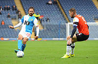 Blackburn Rovers' Bradley Dack under pressure from Luton Town's Sonny Bradley<br /> <br /> Photographer Kevin Barnes/CameraSport<br /> <br /> The EFL Sky Bet Championship - Blackburn Rovers v Luton Town - Saturday 28th September 2019 - Ewood Park - Blackburn<br /> <br /> World Copyright © 2019 CameraSport. All rights reserved. 43 Linden Ave. Countesthorpe. Leicester. England. LE8 5PG - Tel: +44 (0) 116 277 4147 - admin@camerasport.com - www.camerasport.com