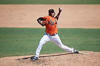 Baltimore Orioles pitcher Willie Rios (69) delivers a pitch during an Instructional League game against the Atlanta Braves on September 25, 2017 at Ed Smith Stadium in Sarasota, Florida.  (Mike Janes/Four Seam Images)