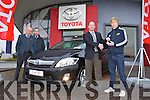 Tim Kelliher of Kellihers Garage handing over the keys of a Toyota Auris to Munster Rugby Player Danny Barnes (On Right) also in photo are Kellihers Sales Executives Tom O'Connor and Jerry O'Sullivan.
