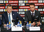 England's Martin Glenn and Gareth Southgate look on during his press conference at Wembley Stadium, London. Picture date December 1st, 2016 Pic David Klein/Sportimage