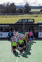 The teams walk out for the National Women's Association Under-18 Hockey Tournament 5th place playoff match between Wellington and Hawkes Bay at Twin Turfs in Clareville, New Zealand on Saturday, 15 July 2017. Photo: Dave Lintott / lintottphoto.co.nz