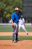Toronto Blue Jays Marcus Reyes (33) during a Minor League Spring Training game against the Detroit Tigers on March 22, 2019 at the TigerTown Complex in Lakeland, Florida.  (Mike Janes/Four Seam Images)