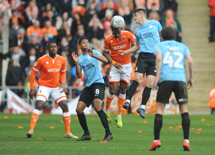 Blackpool's Nathan Delfouneso vies for possession with Southend United's Charlie Kelman<br /> <br /> Photographer Kevin Barnes/CameraSport<br /> <br /> The EFL Sky Bet League One - Blackpool v Southend United - Saturday 9th March 2019 - Bloomfield Road - Blackpool<br /> <br /> World Copyright © 2019 CameraSport. All rights reserved. 43 Linden Ave. Countesthorpe. Leicester. England. LE8 5PG - Tel: +44 (0) 116 277 4147 - admin@camerasport.com - www.camerasport.com
