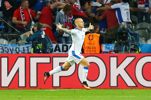 15.06.2016. Lille, France. UEFA Euro 2016 Group B soccer match Russia and Slovakia at Stade Pierre Mauroy in Lille Metropole, France, 15 June 2016. Weiss (Slo) celebrates scoring the first goal for 1-0