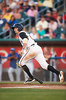 Lansing Lugnuts second baseman Tim Locastro (4) at bat during a game against the Peoria Chiefs on June 6, 2015 at Cooley Law School Stadium in Lansing, Michigan.  Lansing defeated Peoria 6-2.  (Mike Janes/Four Seam Images)