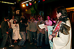 Merwin Foard ( Gypsy Winner for LaCage ) with David Larsen, Sebastian Arcelus, Sarah Glendening, Janet Dacal, Chad Kimball, Tom Deckman and the cast Attending the Opening Night Gypsy Robe Ceremony for GOOD VIBRATIONS at the Eugene O'Neill Theatre in New York City.<br />