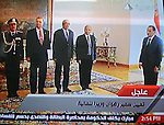 In this image taken from Egypt State TV, showing Egyptian President Hosni Mubarak  during a ceremony to swear in the new government Cabinet as broadcast on Egypt State TV, Monday Jan. 31, 2011. Egypt named its new government on Monday, appointing new finance and interior ministers while other key names such as the defence minister stayed the same, state television said... Photo by Ashraf Amra