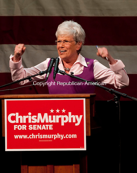 WATERBURY, CT-28 OCTOBER 2012--102812JS02--Lt. Gov. Nancy Wyman gets the crowd cheering during a rally for Chris Murphy Sunday at the Palace Theater in Waterbury. .Jim Shannon Republican-American