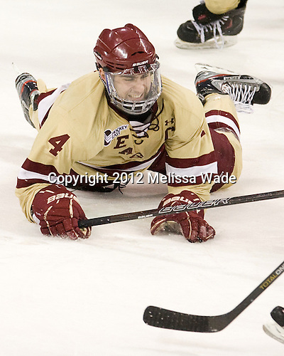 Tommy Cross (BC - 4) - The Boston College Eagles defeated the visiting University of New Hampshire Wildcats 4-3 on Friday, January 27, 2012, in the first game of a back-to-back home and home at Kelley Rink/Conte Forum in Chestnut Hill, Massachusetts.