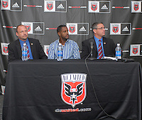 DC United Head Coach Tom Soehn, Brazilian forward Luciano Emilio, and Technical Director Dave Kasper at the press conference in which DC United presented the signing of Luciano Emilio as the new Senior International player on United's roster, January 16, 2007.