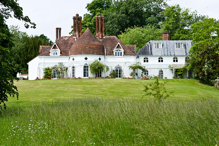 Houghton Lodge, Hampshire. Built sometime before 1799, set on a hill overlooking the River Test, and probably intended as a fishing lodge, it is one of the earliest examples of a Cottage Orné or Rural Retreat.