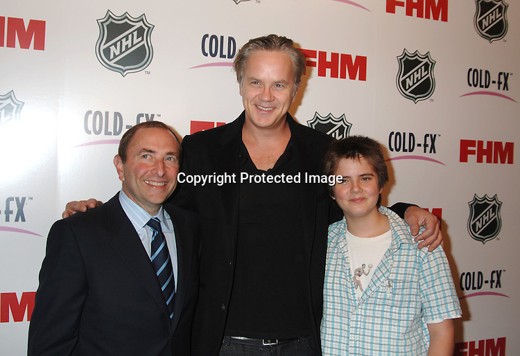 Gary Bettman and Tim Robbins and son Miles..arriving at The National Hockey League and FHM Magazine Party to celebrate the 2006-2007 hockey season at Marquee on September 27, 2006. ..Robin Platzer, Twin Images