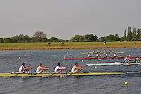 Wallingford Rowing Club Regatta 2011. Dorney..(J18A.4x-).Leander (395).Monmouth Comprehensive School (396).Zimbabwe Rowing Association (398) .Sir William Borlase School (399)