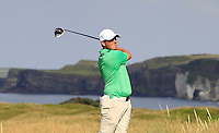 Colm Campbell (IRL) on the 15th tee during the Afternoon Singles between Ireland and Wales at the Home Internationals at Royal Portrush Golf Club on Thursday 13th August 2015.<br /> Picture:  Thos Caffrey / www.golffile.ie