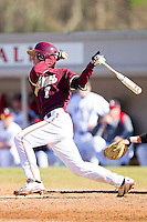 Marty Gantt #7 of the College of Charleston Cougars follows through on his swing against the Davidson Wildcats at Wilson Field on March 12, 2011 in Davidson, North Carolina.  The Wildcats defeated the Cougars 8-3.  Photo by Brian Westerholt / Four Seam Images