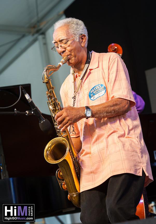 Kidd Jordan & the Improvisational Arts Quintet perform at the 2013 Jazz and Heritage Festival in New Orleans, LA on May 2, 2013.  © HIGH ISO Music, LLC / Retna, Ltd.