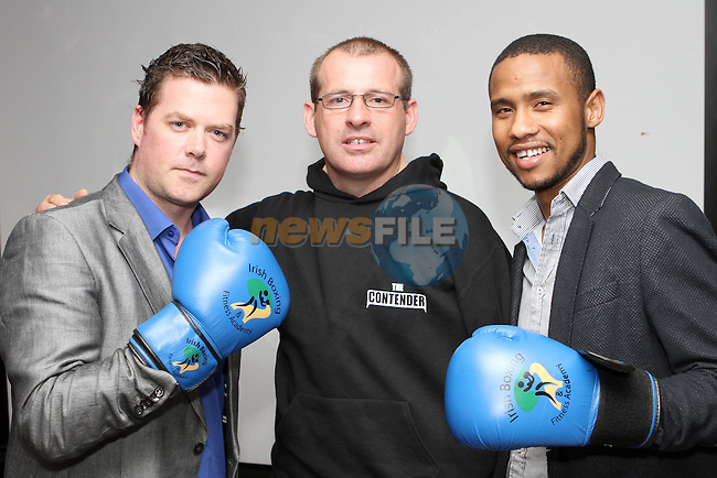 Anto Donnelly, The Contender (centre) with Organisers Padraig Grennan and Adil Ibnouzahir at the Launch of the Charity White Collar Boxing Event at the Morning Star in Tullyallen...Photo NEWSFILE/Jenny Matthews.
