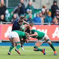 2nd February 2020; Energia Park, Dublin, Leinster, Ireland; International Womens Rugby, Six Nations, Ireland versus Scotland; Jade Konkel (Scotland) is tackled hard by Edel McMahon (Ireland) and Aoife McDermott (Ireland)