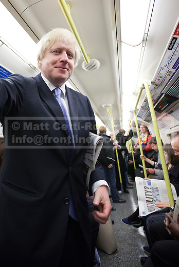 03/05/2012. LONDON, UK. London Mayor Boris Johnson is seen amongst commuters on the London Underground as he travels on the Northern Line after casting his vote in the 2012 mayoral and council elections in London today (03/05/12). Photo credit: Matt Cetti-Roberts