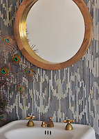 Weft, a jewel glass mosaic shown in Quartz and Pearl, is part of the Ikat Collection by New Ravenna Mosaics.<br />