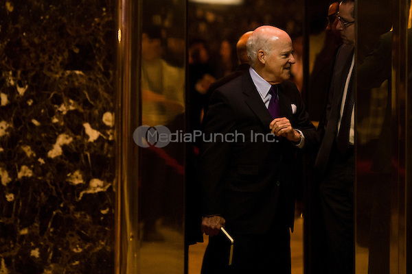Henry Kravis (co-founder of KKR) arrives at Trump Tower in Manhattan, New York, U.S., on Thursday, January 12, 2017.<br /> Credit: John Taggart / Pool via CNP /MediaPunch