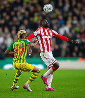 4th November 2019; Bet365 Stadium, Stoke, Staffordshire, England; English Championship Football, Stoke City versus West Bromwich Albion; Badou Ndiaye of Stoke City with his eye on the ball - Strictly Editorial Use Only. No use with unauthorized audio, video, data, fixture lists, club/league logos or 'live' services. Online in-match use limited to 120 images, no video emulation. No use in betting, games or single club/league/player publications