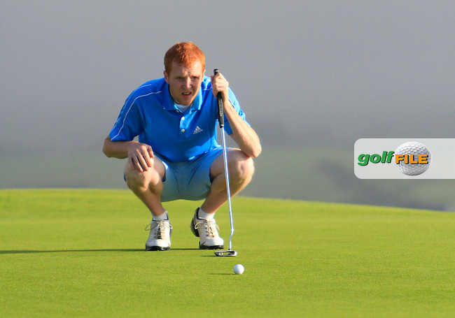 Paul Cullen (Royal Tara) on the 1st green during the South of Ireland Amateur Open Championship Second Round at Lehinch Golf Club  28th July 2013 <br /> Picture:  Thos Caffrey / www.golffile.ie