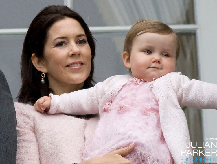 Crown Princess Mary with her daughter Princess Isabella (age 1) at Amalienborg palace in Copenhagen for Prince Frederik's 40th birthday celebrations.
