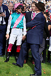 October 06, 2019, Paris (France) - Frankie Dettori and John Gosden at the Qatar Prix de l'Arc de Triomphe (Gr I) on October 6 in ParisLongchamp. [Copyright (c) Sandra Scherning/Eclipse Sportswire)]