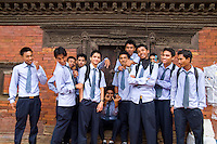 High school students in uniform. School in village of Bhaktapur a town near Kathmandu Nepal