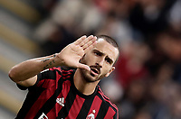 Calcio, Serie A: Milano, stadio Giuseppe Meazza (San Siro), 1 ottobre 2017.<br /> Milan's Leonardo Bonucci reacts during the Italian Serie A football match between Milan and AS Roma at Milan's Giuseppe Meazza (San Siro) stadium, October 1, 2017.<br /> UPDATE IMAGES PRESS/IsabellaBonotto