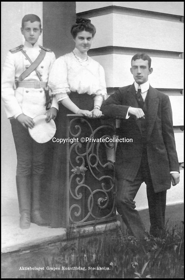 BNPS.co.uk (01202 558833)Pic: PrivateCollection/BNPS<br /> <br /> Grand Duke dmitri Pavlovich, his sister Marie and Prince William of Sweden.<br /> <br /> A Russian Grand Duke branded King George V a 'scoundrel' who 'did not lift a finger' to save the Romanov family in the revolution there of 1917, explosive diaries have revealed.<br /> <br /> The cousin of the overthrown Russian Royal family blamed the British King for their executions because he failed to grant them refuge.<br />  <br /> Dmitri Pavlovich no-holds-barred diary extracts have been published for the first time in a new book by respected historian Coryne Hall, To Free The Romanovs.