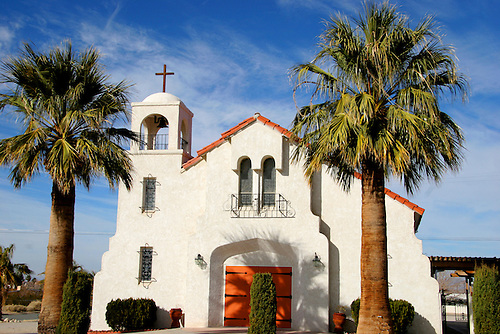 A Spanish-style church near Joshua Tree, California