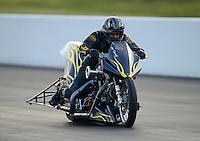 Jun. 15, 2012; Bristol, TN, USA: NHRA top fuel Harley motorcycle rider Joey Sternotti during qualifying for the Thunder Valley Nationals at Bristol Dragway. Mandatory Credit: Mark J. Rebilas-