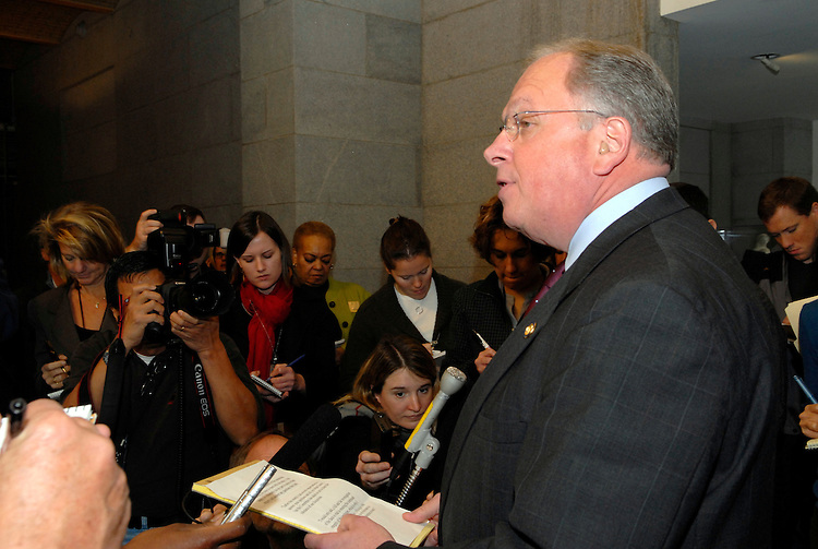 Tom Reynolds, R-NY talks with the press after he testified before a subcommittee of the House Ethics Committee investigating  the Mark Foley page scandal. Reynolds had said earlier that he warned Speaker Hastert this spring about then-Rep. Mark Foley.