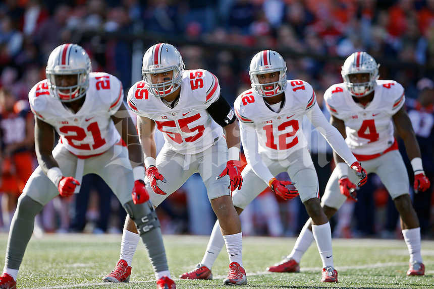 Ohio State Buckeyes wide receiver Parris Campbell (21), Ohio State Buckeyes linebacker Camren Williams (55) and Ohio State Buckeyes cornerback Denzel Ward (12), Ohio State Buckeyes running back Curtis Samuel (4) against Illinois Fighting Illini at Memorial Stadium in Champaign, IL on November 14, 2015.  (Dispatch photo by Kyle Robertson)
