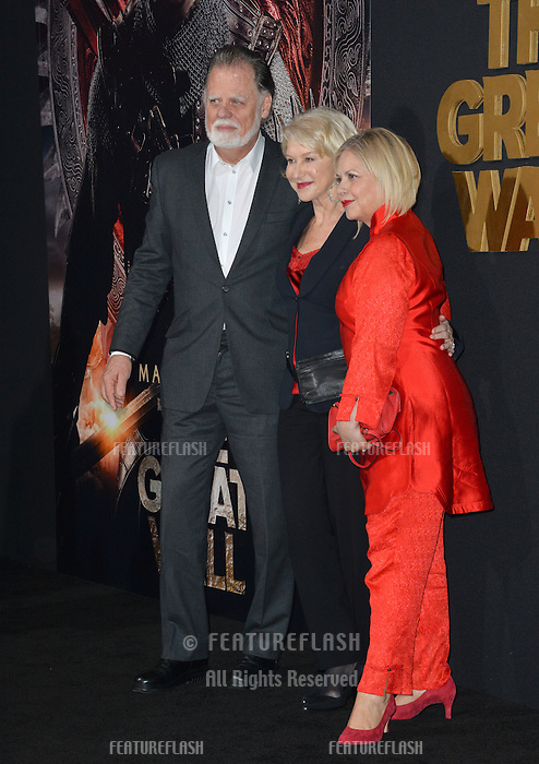 Dame Helen Mirren &amp; husband Taylor Hackford &amp; costume designer Mayes C. Rubeo at the premiere for &quot;The Great Wall&quot; at the TCL Chinese Theatre, Hollywood, Los Angeles, USA 15 February  2017<br /> Picture: Paul Smith/Featureflash/SilverHub 0208 004 5359 sales@silverhubmedia.com