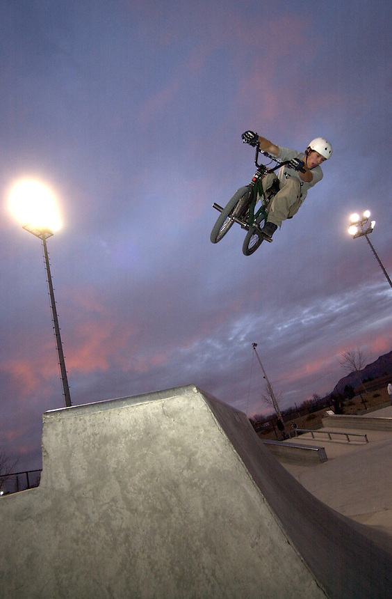 A BMX biker rides at the Los Altos skatepark in Albuquerque, New mexico in January 2003.